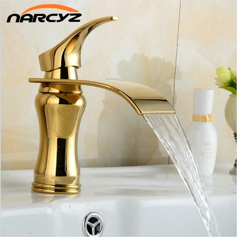 Waterfall Gold Faucet Single Handle Antique Kitchen Basin Mixer Taps Single Hole Sink Faucet XT816 unique single top lever waterfall basin mixer faucet gold color basin sink taps