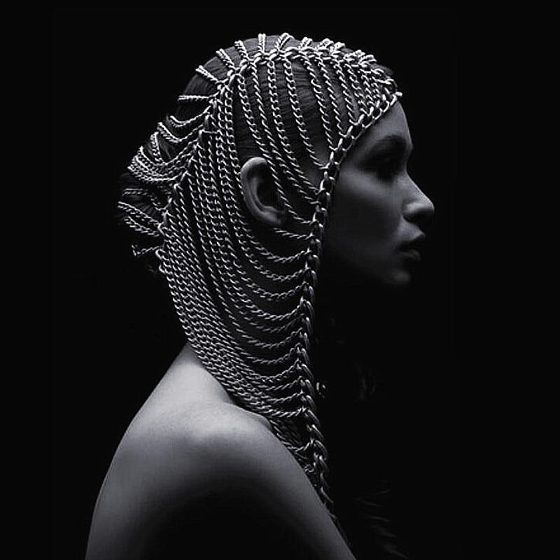 2019 chaîne exagérée or / argent diadèmes femmes punk party stage bijoux multicouche tête chaîne chapeaux front cheveux bijoux