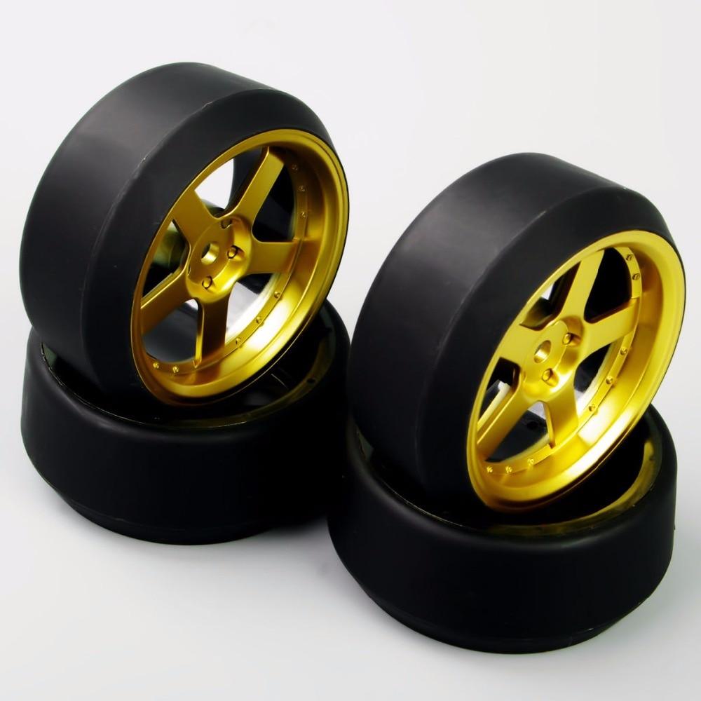 HSP HPI 1:10 RC On-Road Racing Car Drift Tyre Tires &Wheel Rim Model Toys Accessory For Car model   4pcs/set D5G+PP0370 aluminum 6 spoke wheel rim for 1 10 rc on road racing car