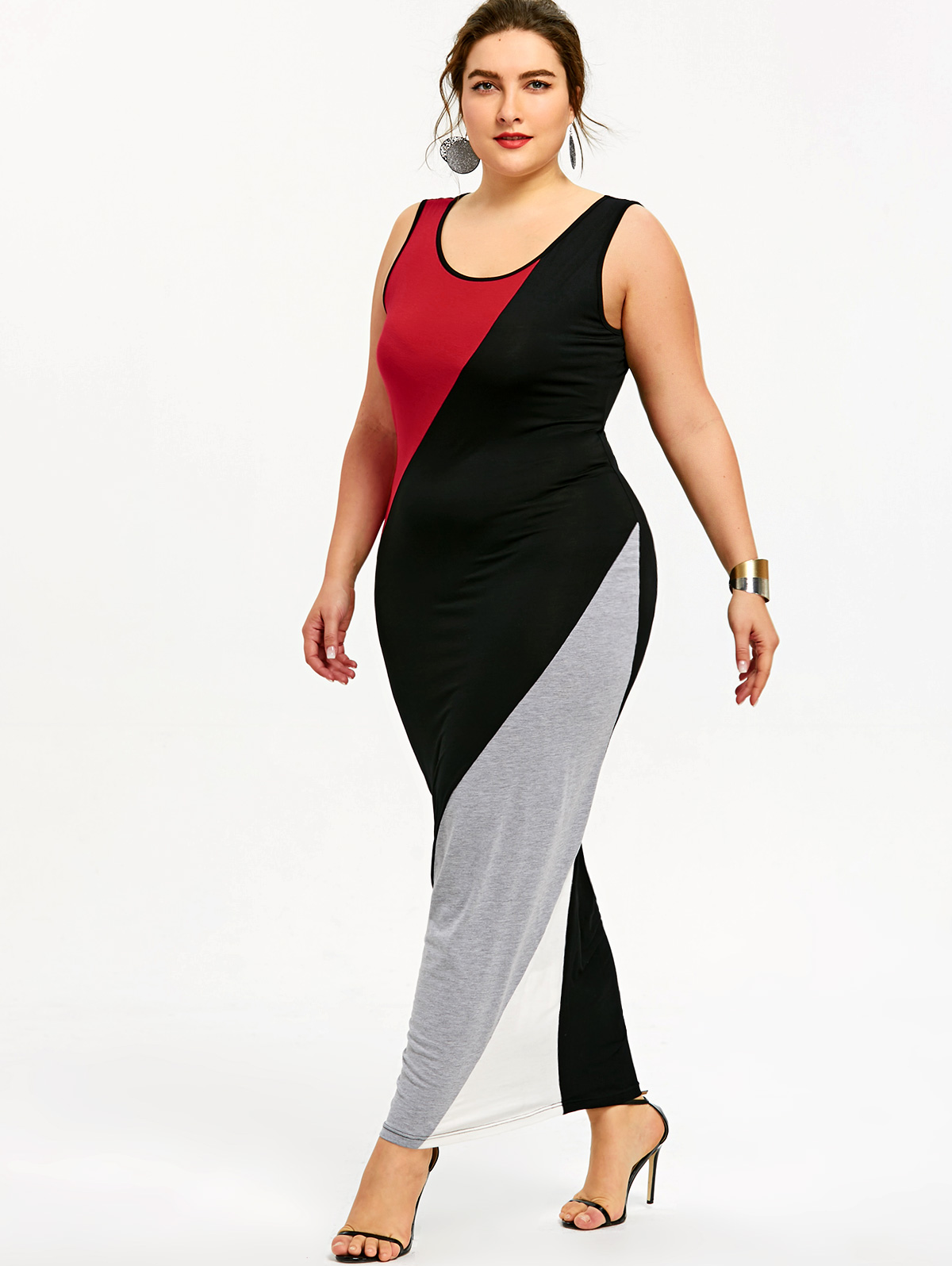 4a5aa893eff Gamiss Plus Size 5XL U Neck Maxi Tank Dress Color Block Sleeveless Women  Casual Black Red White Floor Length Dress Vestidos-in Dresses from Women s  Clothing ...