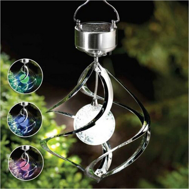 Us 16 91 5 Off 2017 New Led Solar Lamp Spinner Wind Chime Crystal Ball Solar Charger Light Pendant Outdoor Hanging Solar Garden Decor Lampara In