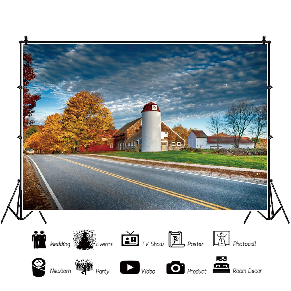 Yeele Rural Route Countryside Road House Cloudy Sky Tree Scenery Photography Backgrounds Photographic Backdrops For Photo Studio in Background from Consumer Electronics