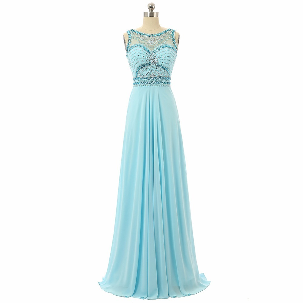 2018 Sexy Light Blue   Prom     Dress   Sheer Top Neck Beaded Crystals Sleeveless Long Formal Party Gown Plus Size Vestido De Fiesta