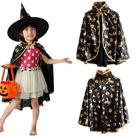 Halloween Pumpkin Sorcerer Cloak Costumes Children Kids ...
