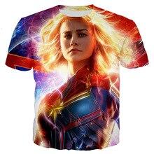 Captain Marvel 2019 Summer Short Sleeve T-shirt Avenger Endgame Dobby In Printed Tees Women Casual Iron Man Top  T Shirts