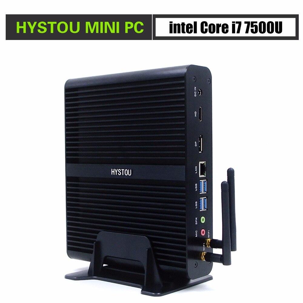 HYSTOU fanless mini pc i7 7500U FMP05B support 16GB RAM 512GB SSD Windows 10 license mini
