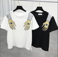 2017 Summer Harajuku Personality Finger Eyes Print Loose Casual Short Sleeve T Shirt Female
