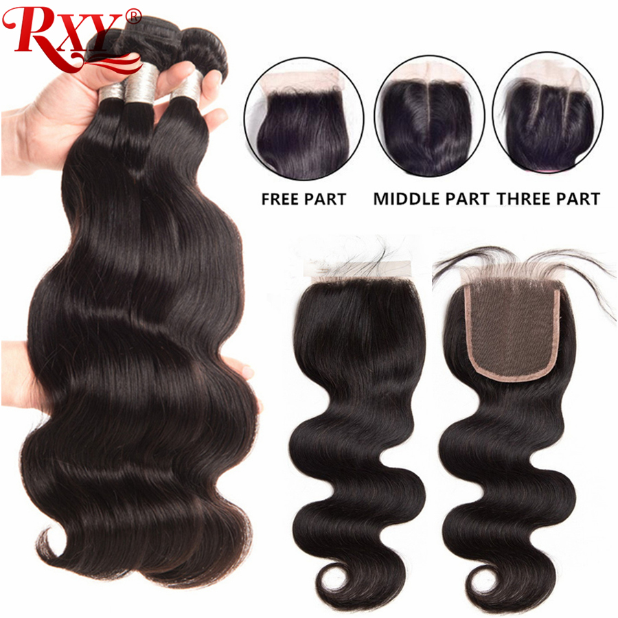 RXY Braizilian Hair Bundles with Closure Body Wave Human Hair Weave Bundles With 4x4 Lace Closure Remy Human Hair Natural Color