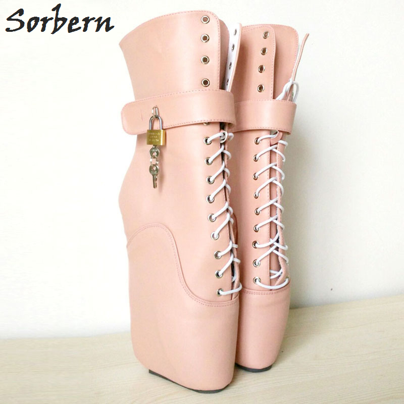 Sorbern Woman Boots 18CM Ultra High Heel Strange Wedge Ballet Boots Sexy Fetish Cross-tied Ankle Boots With Padlocks Locks woman wedge heel ankle boots 2015 the latest autumn winter fashion zipper pumps boots cross straps woman wedge heel ankle boots