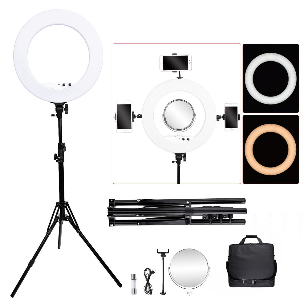 Fosoto FT-R480 Ring Lamp 18 Inch Photographic Lighting 3200-5800K Dimmable Led Ring Light Tripod&Mirror For Phone Camera Photo