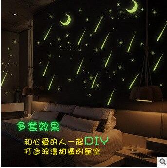 Новые 6 видов стиля метеорный поток Романтический ночь палке 3D стены Стикеры трава автомобиля Стикеры комнаты малыша 3D DIY обои