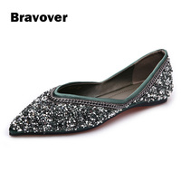 Luxury Brand Sequins Glitter Woman Loafers Green Black Slip On Flats Shoes Shallow Pointed Toe Single