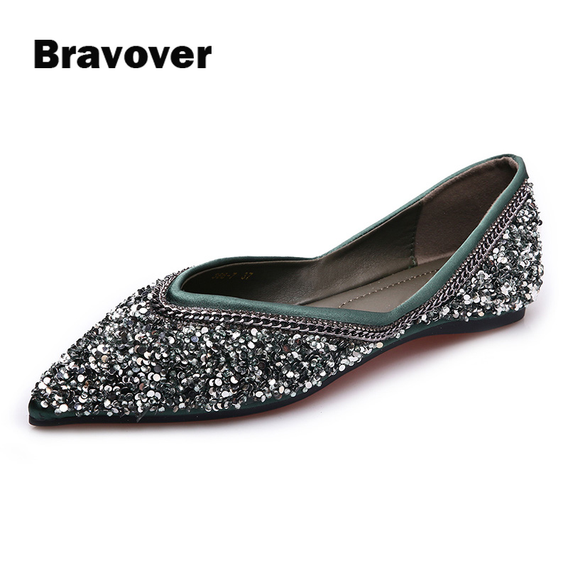 Luxury Brand Sequins Glitter Woman Loafers Green Black Slip-on Flats Shoes Shallow Pointed Toe Single Party Shopping Shoes enmayer pointed toe summer shallow flats slip on luxury brand shoes women plus size 35 46 beige black flats shoe womens