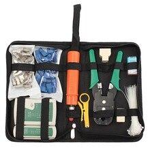 RJ11Cable Тестер Клещи Сеть LAN Разъем Провода Обжима RJ45 Кристалл Голову CAT5 Кабельный Резак Анализатор Зачистки Нож Набор Инструментов Мешок