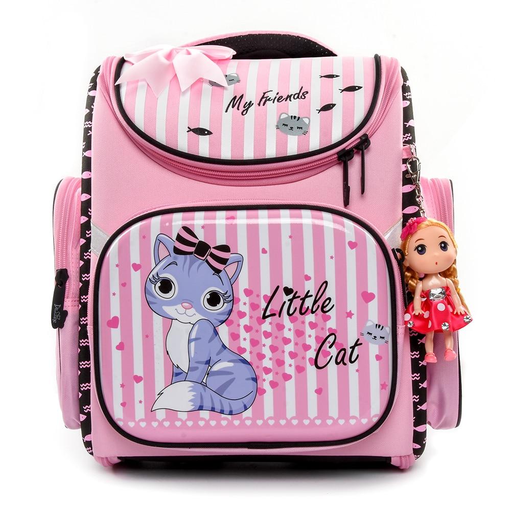 Delune Brand Kids New Cartoon Cat School Bags for Girls Child Waterproof Grade 1 3 Orthopedic School Backpacks Mochila Infantil-in School Bags from Luggage & Bags    1