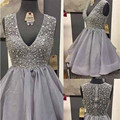Gray Rhinestone Short Homecoming Dresses 2016 Sexy V-Neck eading Knee Length Prom Dress Cheap Organza Homecoming Gowns For Girls