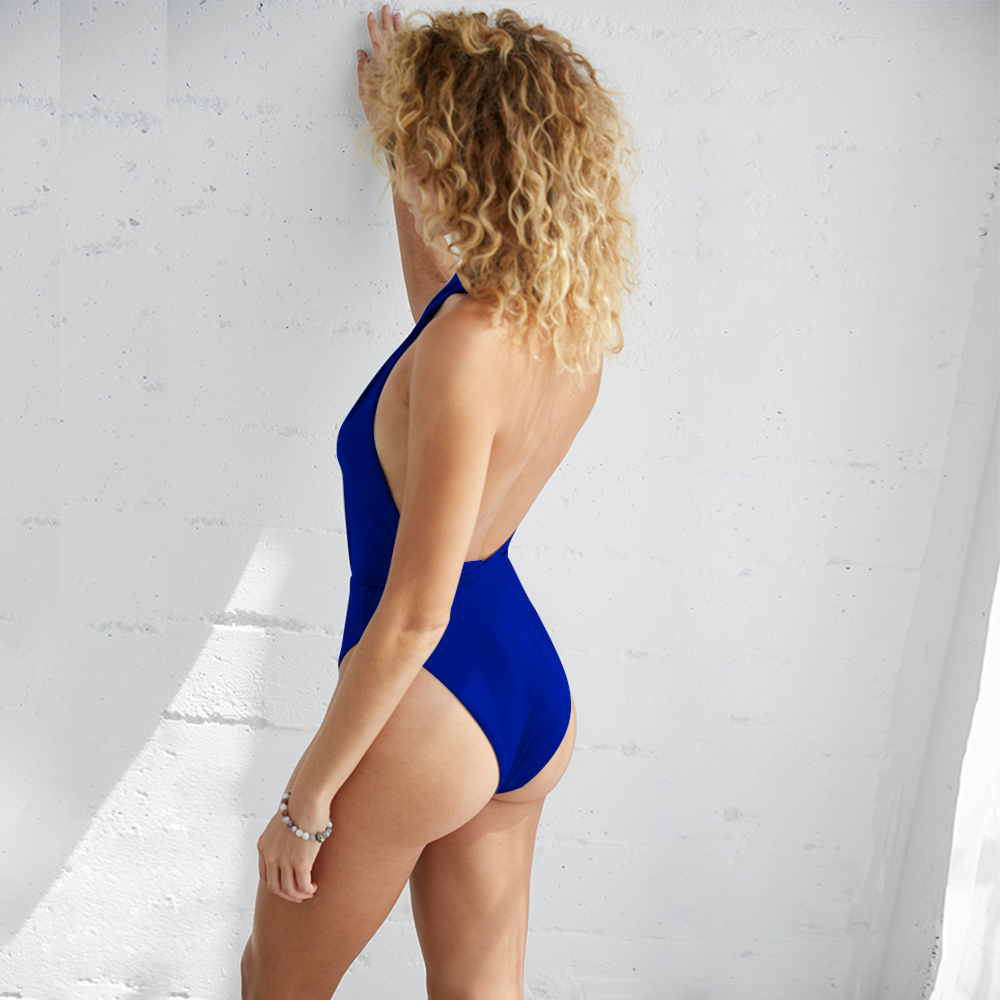 One piece swimsuit new hanging neck cross sexy one piece swimsuit swimwear women swimwear women one piece bikini 2019 sexy swims in Body Suits from Sports Entertainment