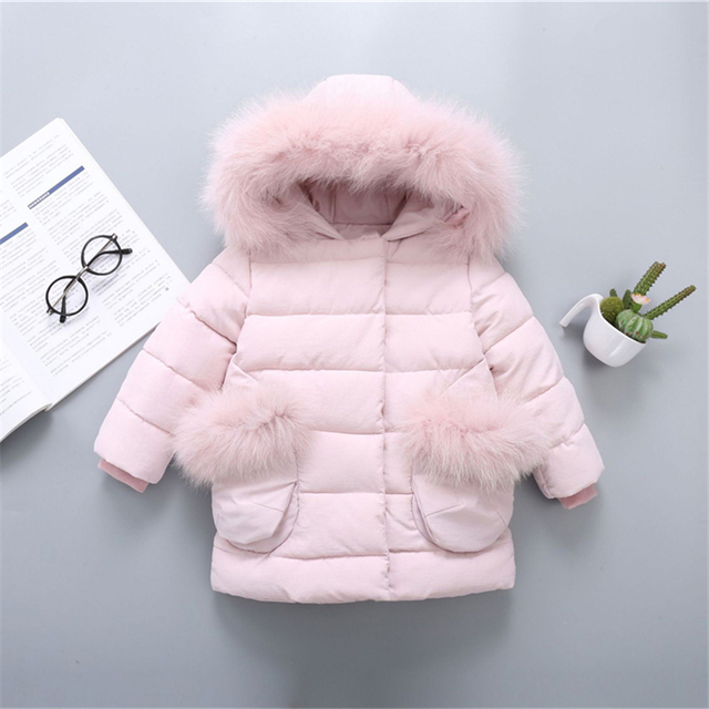 Best Offers fashion Kids Down Jacket 2019 Winter Warm Parkas Coats Thicken Natural Fur Collar Hooded Outerwear Baby Boys Girls Clothes
