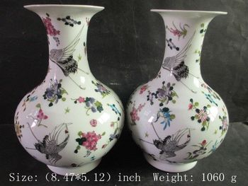 A Pair of Exquisite Chinese pottery and porcelain luminous crane vases