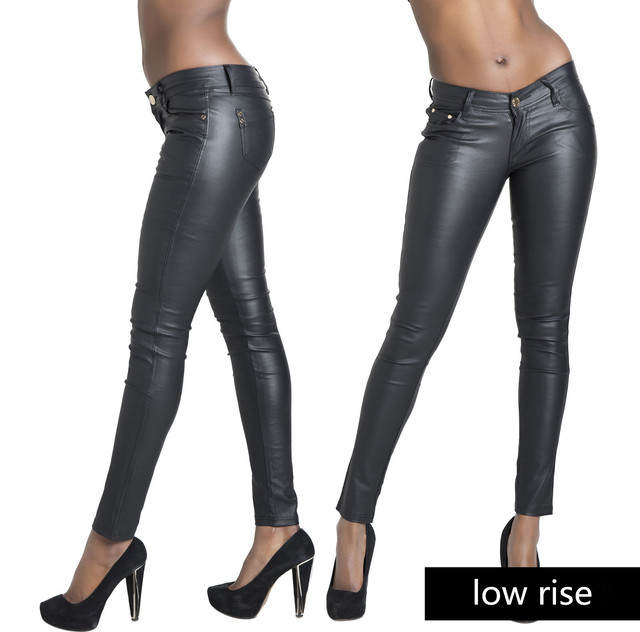 Fashion new women leather pants PU legging skinny pencil pants  woman leather leggings jeans for feminino femme