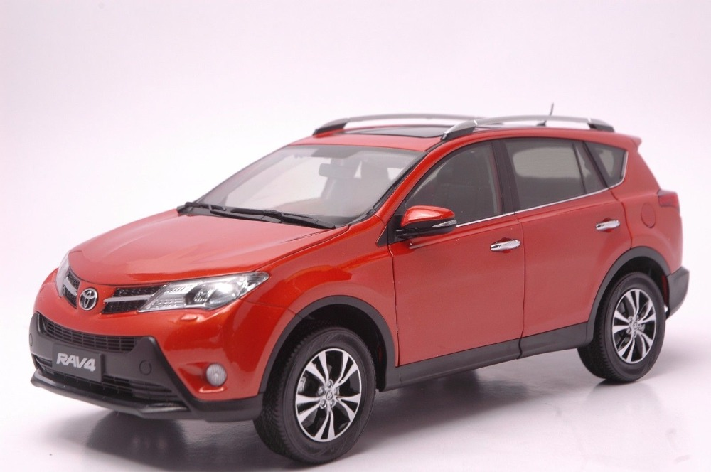 1:18 Diecast Model for Toyota RAV4 2013 Orange SUV Alloy Toy Car Collection universal pu leather car seat covers for toyota corolla camry rav4 auris prius yalis avensis suv auto accessories car sticks