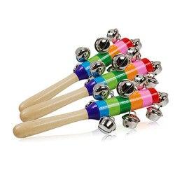 1 шт., От 0 до 2 лет, Детские милые погремушки-колокольчики, радужные детские погремушки, деревянная палочка с колокольчиком, игрушки для новор...