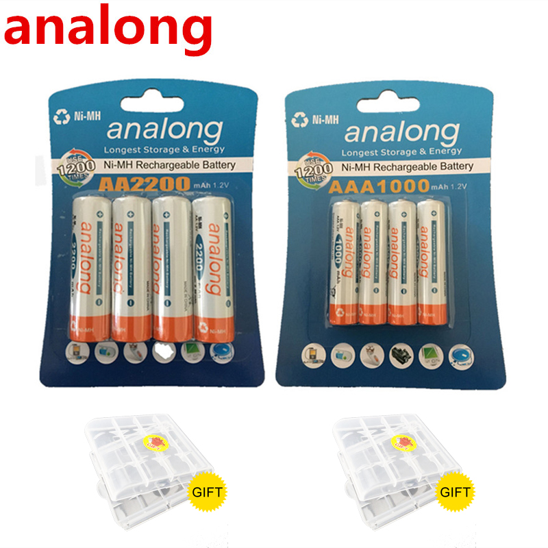 Original 4Pcs 1 2V High Capacity AA 2200mAh Batteries 4Pcs AAA 1000mAh Batteries aa aaa 3A