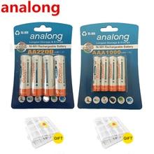 Original 4Pcs 1 2V High Capacity AA 2200mAh Batteries 4Pcs AAA 1000mAh Batteries aa aaa 3A