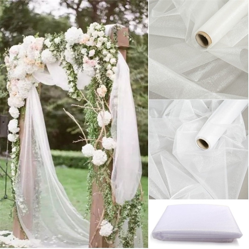 48cm X 10m Mariage Yarn Tulle Roll Sheer Crystal Organza Fabric Birthday Event Party Supplies For Wedding Decoration(China)