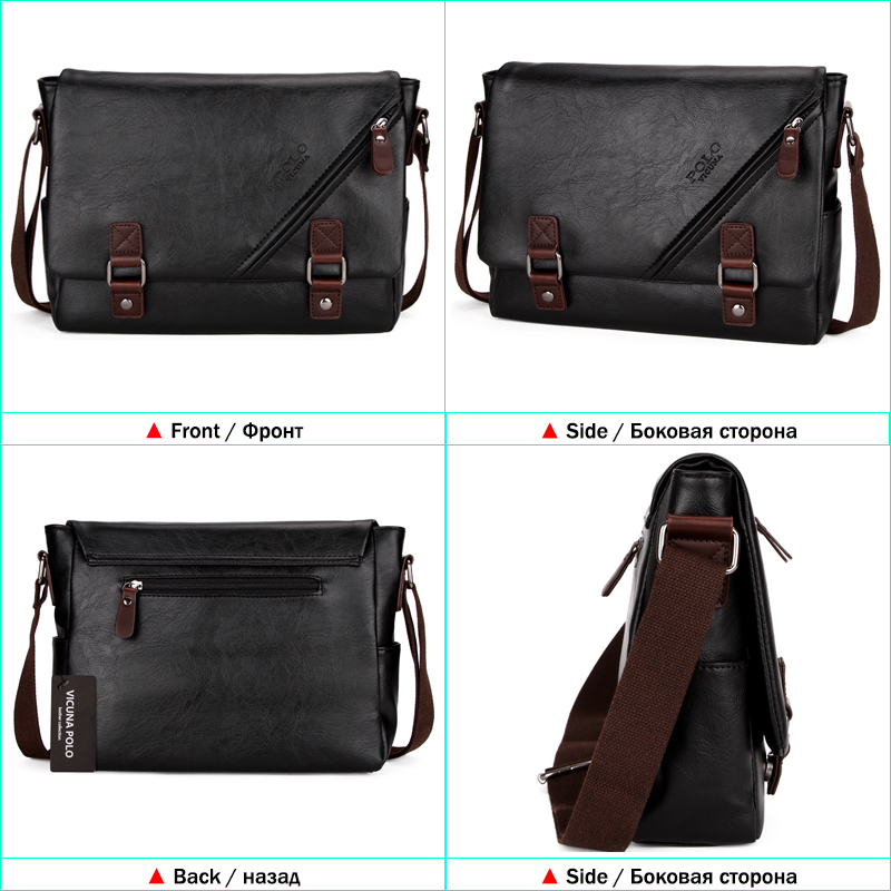 0d4b2002121 VICUNA POLO High Quality Black Leather Bag Mens Messenger Bag Double hasp  Open Satchel Fashion Men's Shoulder Bag Large Capacity on Aliexpress.com |  Alibaba ...