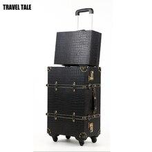 """Travel tale 2"""" 22"""" 2"""" bavul винтажная Дорожная сумка на колёсиках, черный/белый/красный spinner ультра-легкие тележки чемодан BAGGAGE"""