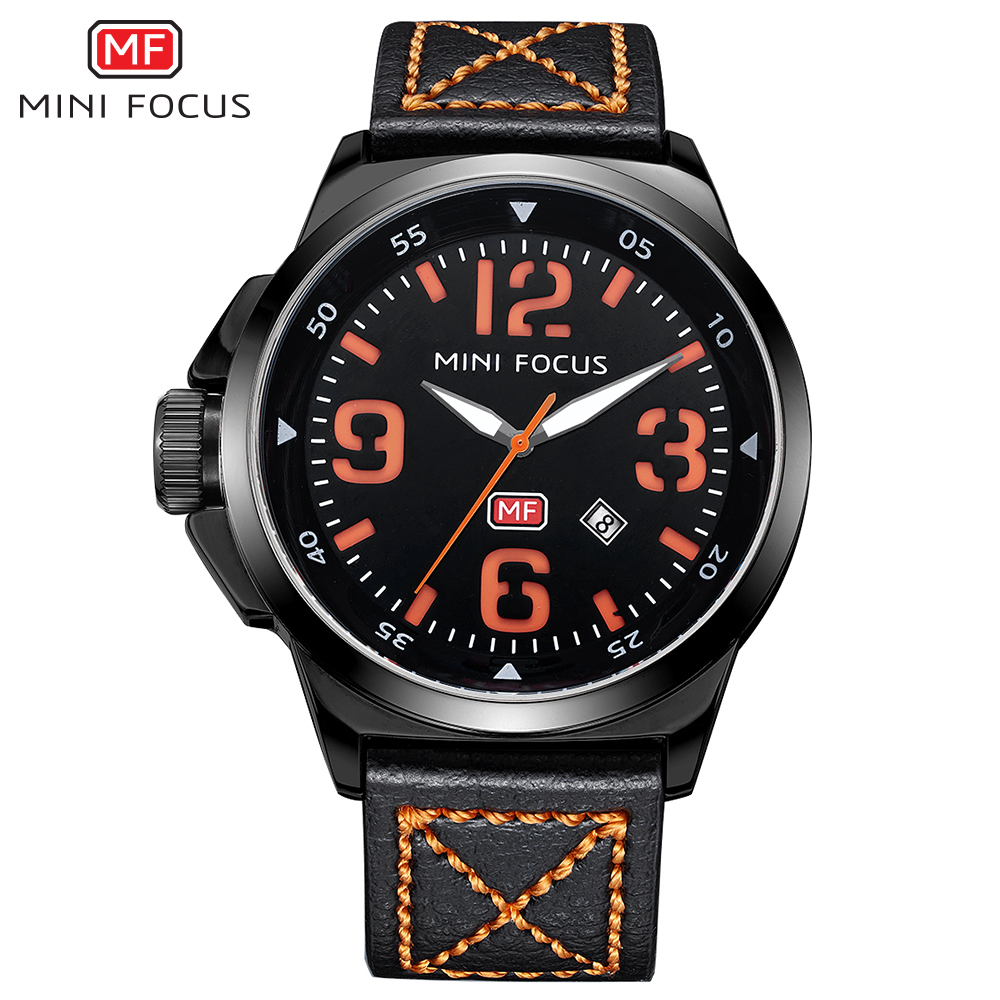 MINIFOCUS Men Fashion Quartz Watch Man Leather Strap Sport Casual Clock Gents Date Analog Waterproof Watches New Erkek Kol Saati цена и фото