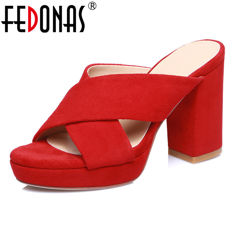 FEDONAS Sexy Women High Heels Prom Party Bight Club Pumps Summer Shoes Woman Kid Suede Leather