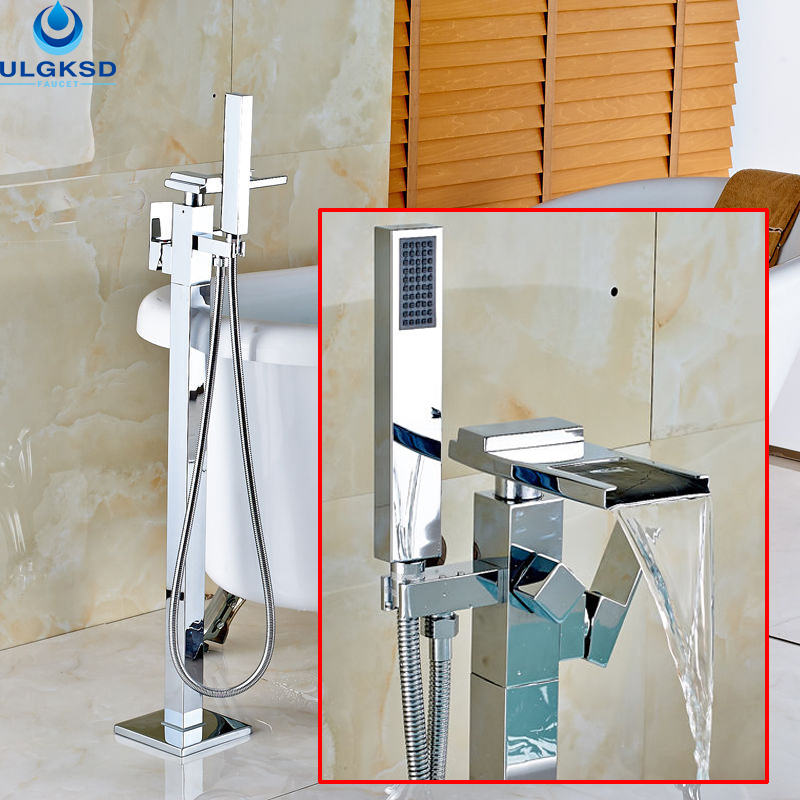 Ulgksd Free Standing Bathroom Tub FaucetHand Shower Floor Standing Tub Faucet Waterfall Tub Faucet Bathtub Mixer Tap Faucet oil rubbed bronze waterfall tub mixer faucet free standing floor mount bathtub faucet with handshower