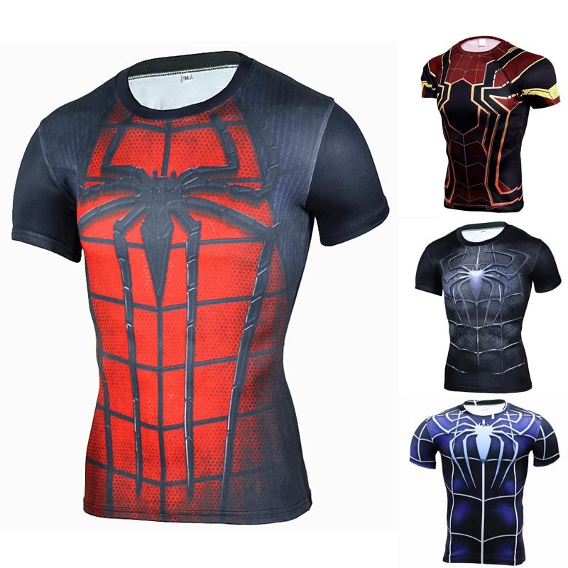 Printed Spiderman 3d Tshirt Marvel Super Heroes Compression Tops Gym  Crossfit Tee Shirt Run Rashguard Male Summer Clothes 2019 9f27f7778