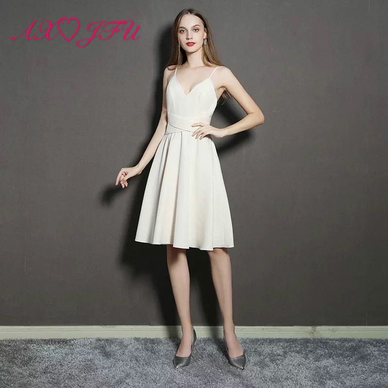 AXJFU spaghetti strap Sexy Suspender Deep V-neck and Backless Slimming little white dress White Short Evening Dresses