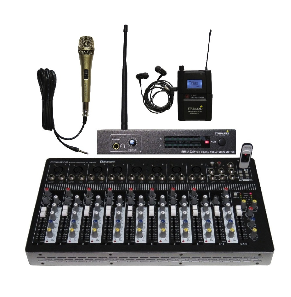 STARAUDIO Pro PA DJ Stage KTV 10CH USB Bluetooth Mp3 Mixer with Monitor Stereo Mic System 1 Wired Microphone