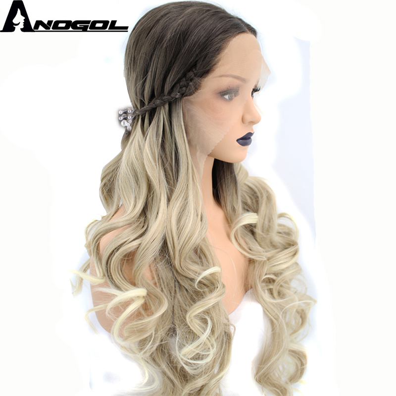 Anogol 2 Tones Dark Roots Ombre Blonde Hair Wigs Natural Long Wavy Braided Synthetic Lace Front Wig For Women With Hairpins