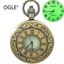 OGLE Bronce Antiguo Romano Calendario Mens Luminosos Estudiante Dama Cadena Collar Antiguo Reloj de Bolsillo de Cuarzo Caja de Regalo Libre