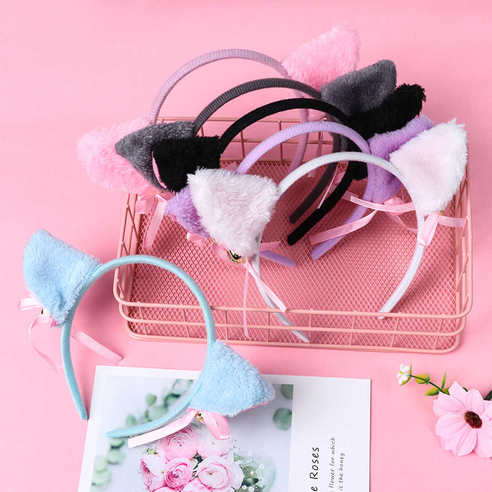 Lovely Night Party Club Bar Decorate Headbands Plush Cat  Fur Ear Hairband Girls Anime Cosplay Costume Cat Ear Hair wear