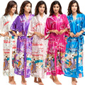 Summer New Female Faux Silk Robes Bathrobe Chinese Style Wedding Long Sleepwear Kimono Gown Robes For Bridesmaid One Size 010702
