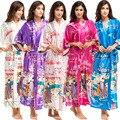 Verão New Feminino Faux Silk Robes Roupão Vestes Vestido Para Dama De Honra Do Casamento Do Estilo Chinês Longo Kimono Sleepwear Um Tamanho 010702