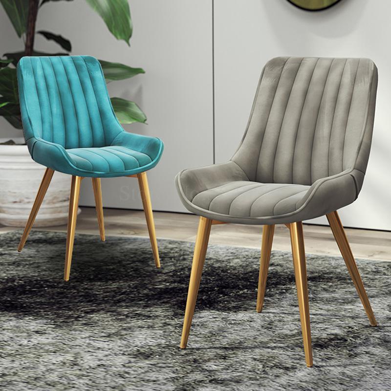 Nordic Plus Velvet Dining Chair Modern Minimalist Backrest Home Creative Leisure Stool Restaurant Office Parlor Chair