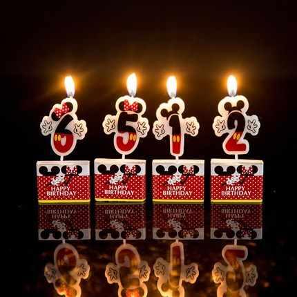 Торт ко дню рождения свечи Микки мавечерние УС партии поставки свечи 0 1 2 3 4 5 6 7 8 9 юбилей торт цифры возраст свечи украшение Вечерние