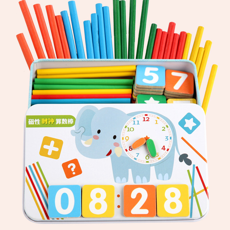 Arithmetic Stick Mathematics Learning Stick Educational Kids Puzzles Toy With Metal Box