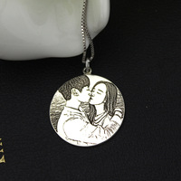 S925 sterling silver jewelry personality custom necklace shadow carving photo couple pendant necklace to her most romantic gift