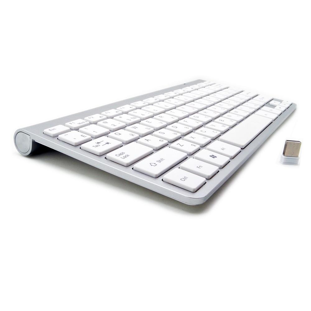 Русский Испанский Французский Арабский Иврит Клавиатура 2.4 г Беспроводной ультра-тонкий немой клавиатуры для MAC Win XP 7 10 android ТВ коробка