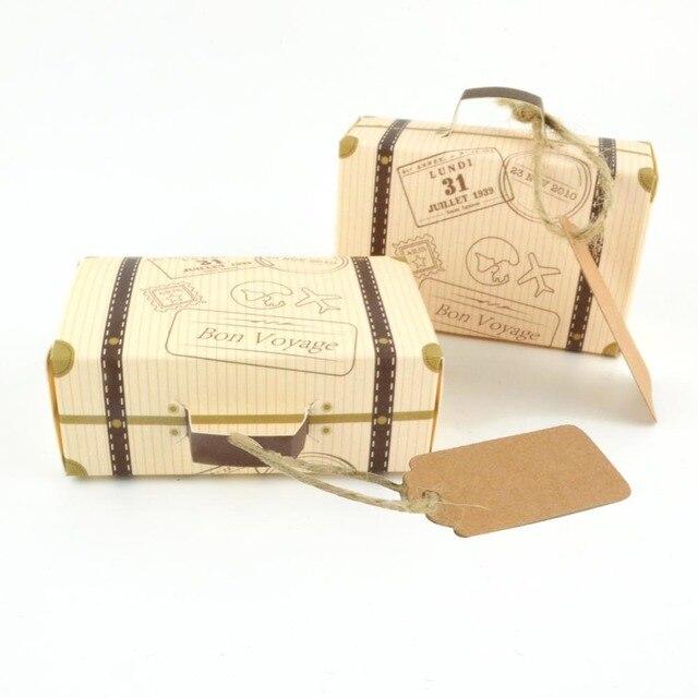 50pcs Suitcase Candy Box Creative Mini Gift Paper Packaging Carton Chocolate Wedding