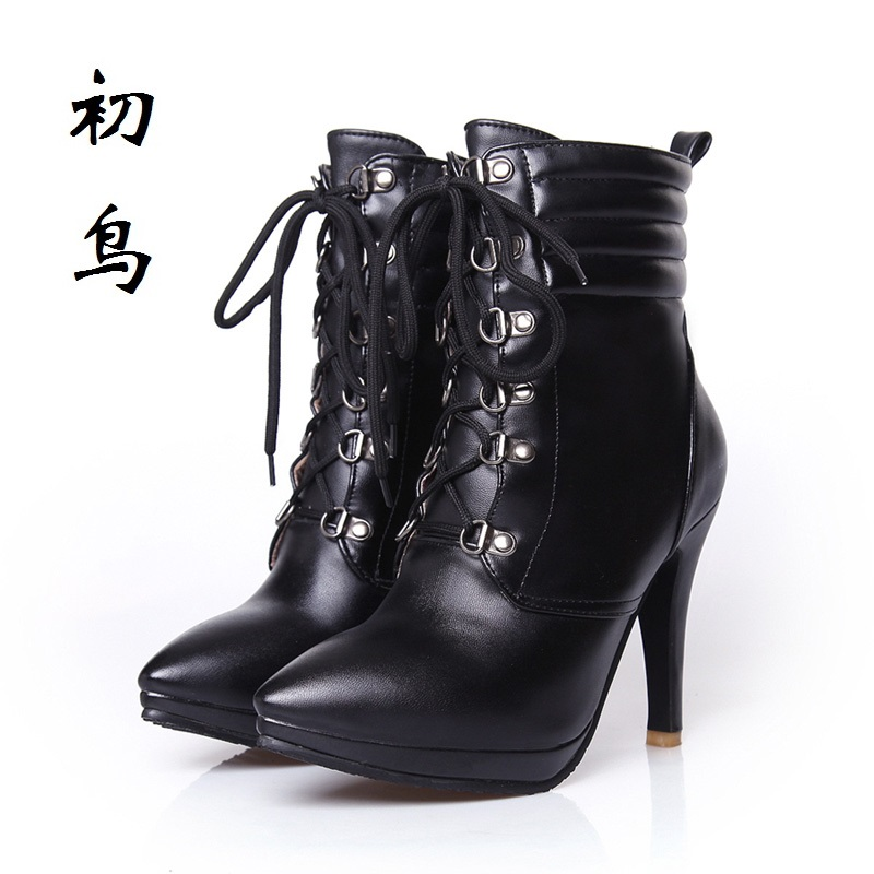 2017 Size 32-43 Fashion Black Lace-up High Heels Women Boots Ankle Ladies Shoes Woman Spring Autumn Chaussure Femme 33 34 White new spring autumn women boots black high heels thick heel boots lace up platform ankle boots large size 34 43