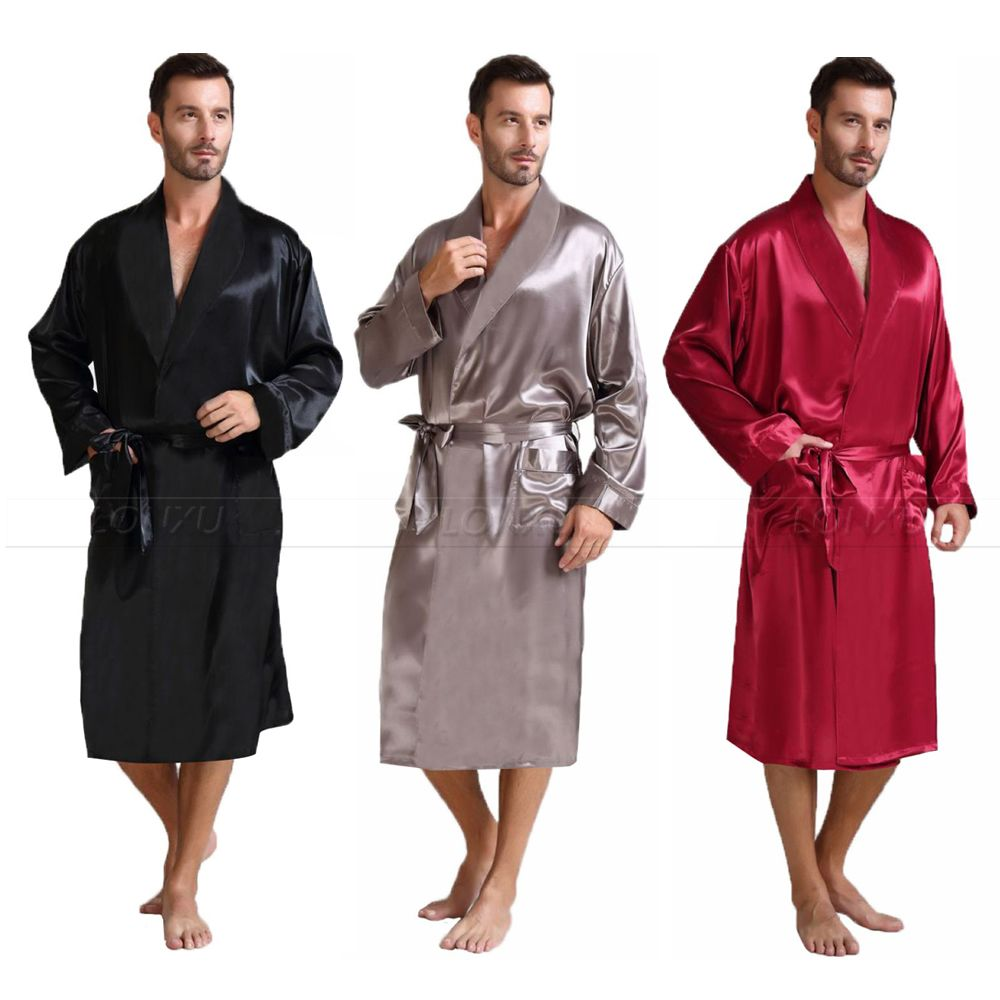 Mens Silk Satin Pajamas Sleepwear Robe Robes Bathrobe Nightgown S 3XL
